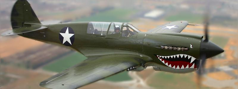 The P-40 Warhawk became legendary when flown by the Flying Tigers, American Volunteer Group fighting in China.<BR> A classic fighter of World War 2 the Kittyhawk Tomahawk and Warhawk lines appeared from 43 to 44<BR> over the Mediterranean and Pacific theaters. The P-40 was not an overly exceptional aircraft in any one<BR> category but proved to be a deadly fighting machine in trained hands.
